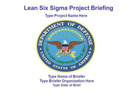 Type Name of Briefer Type Briefer Organization Here Type Date of Brief Lean Six Sigma Project Briefing Type Project Name Here.