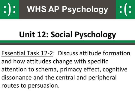 WHS AP Psychology Unit 12: Social Pyschology Essential Task 12-2: Discuss attitude formation and how attitudes change with specific attention to schema,