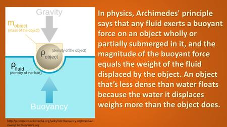 ewer/File:Buoyancy.svg In physics, Archimedes' principle says that any fluid exerts a buoyant.