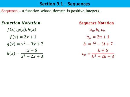 Sequence – a function whose domain is positive integers. Section 9.1 – Sequences.