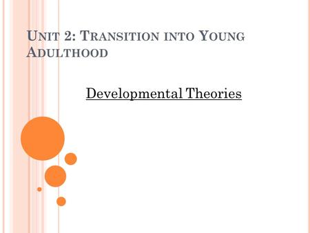 U NIT 2: T RANSITION INTO Y OUNG A DULTHOOD Developmental Theories.