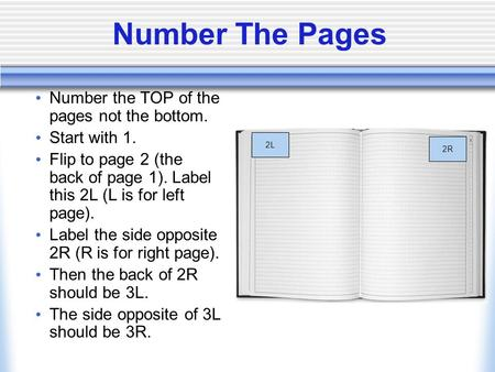 Number the TOP of the pages not the bottom. Start with 1. Flip to page 2 (the back of page 1). Label this 2L (L is for left page). Label the side opposite.
