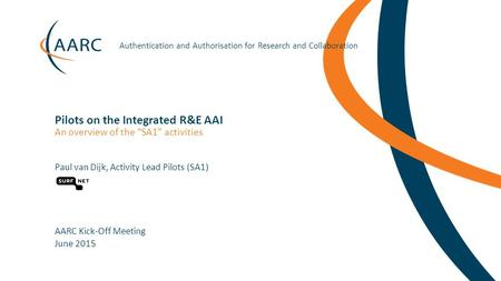 Https://aarc-project.eu Authentication and Authorisation for Research and Collaboration Pilots on the Integrated R&E AAI Paul van Dijk, Activity Lead Pilots.