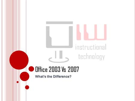 Office 2003 Vs 2007 What's the Difference?. Office 2007 This tutorial will explain the differences between Office 2003 and 2007 by comparing the Menus.