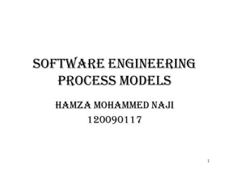 Software Engineering process models