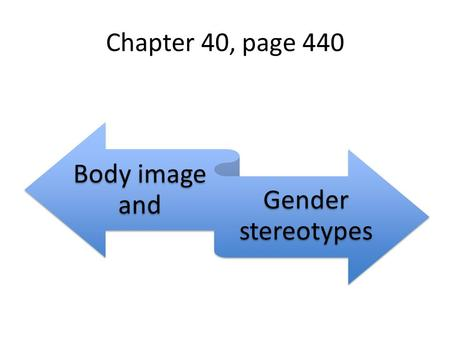 Chapter 40, page 440 Body image and Gender stereotypes.