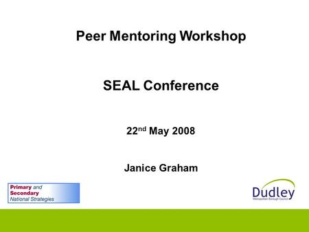Peer Mentoring Workshop SEAL Conference 22 nd May 2008 Janice Graham.