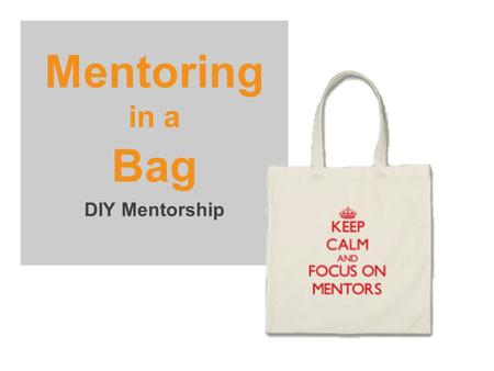 Mentoring in a Bag DIY Mentorship. 2 A mutually rewarding relationship between a mentor and a mentee that is driven by the mentee's questions and issues.