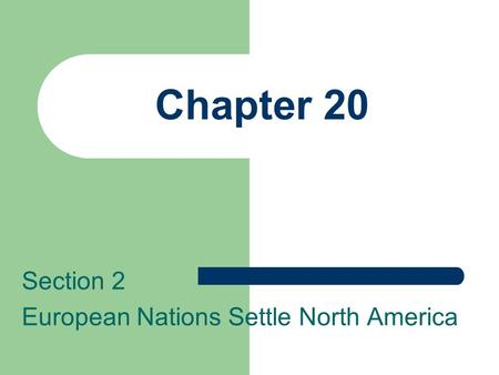 Chapter 20 Section 2 European Nations Settle North America.
