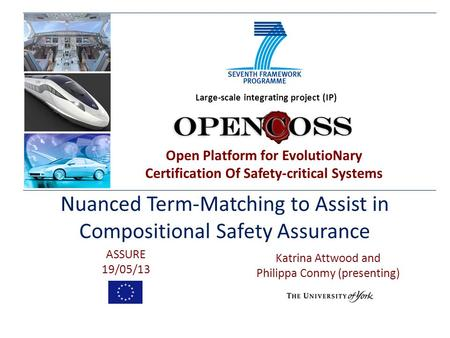 Open Platform for EvolutioNary Certification Of Safety-critical Systems Large-scale integrating project (IP) Nuanced Term-Matching to Assist in Compositional.