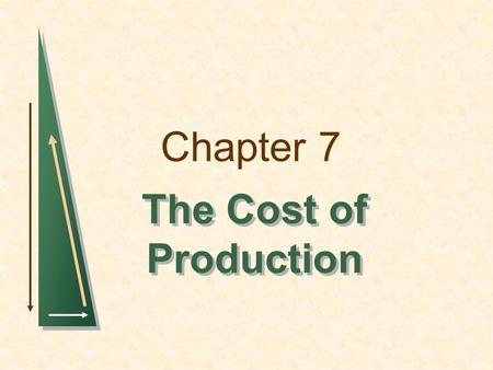 Chapter 7 The Cost of Production. Chapter 7Slide 2 Topics to be Discussed Measuring Cost: Which Costs Matter? Cost in the Short Run Cost in the Long Run.