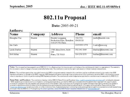 Doc.: IEEE 802.11-05/0850r4 Submission September, 2005 Yao Zhonghui, Huawei Slide 1 802.11u Proposal Notice: This document has been prepared to assist.