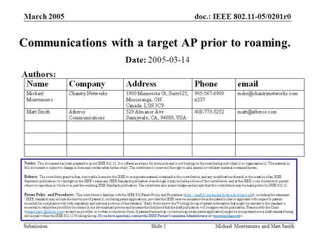 Doc.: IEEE 802.11-05/0201r0 Submission March 2005 Michael Montemurro and Matt SmithSlide 1 Communications with a target AP prior to roaming. Notice: This.
