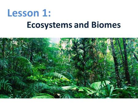 Lesson 1: Ecosystems and Biomes.