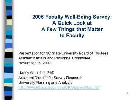 1 2006 Faculty Well-Being Survey: A Quick Look at A Few Things that Matter to Faculty Presentation for NC State University Board of Trustees Academic Affairs.