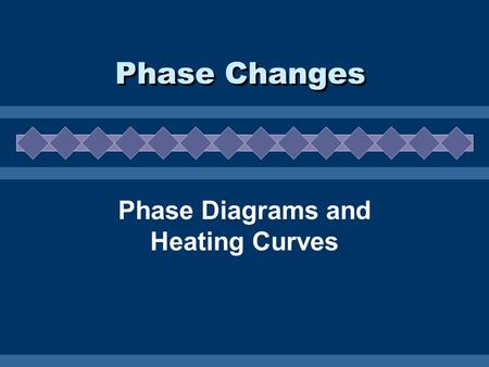 Phase Changes Phase Diagrams and Heating Curves. Phase Diagrams  Show the phases of a substance at different temps and pressures. Courtesy Christy Johannesson.