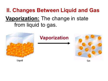 II. Changes Between Liquid and Gas Vaporization: The change in state from liquid to gas. Vaporization.