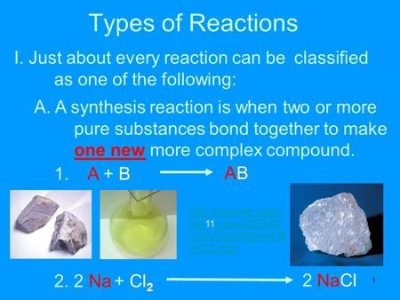 1 Types of Reactions I. Just about every reaction can be classified as one of the following: A. A synthesis reaction is when two or more pure substances.