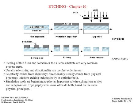 ETCHING – Chapter 10 Etching of thin films and sometimes the silicon substrate are very common process steps. Usually selectivity, and directionality are.