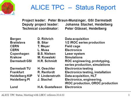 ALICE TPC Status, Meeting with LHCC referees 30.6.031 ALICE TPC – Status Report Project leader: Peter Braun-Munzinger, GSI Darmstadt Deputy project leader: