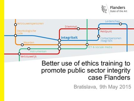 Better use of ethics training to promote public sector integrity case Flanders Bratislava, 9th May 2015.