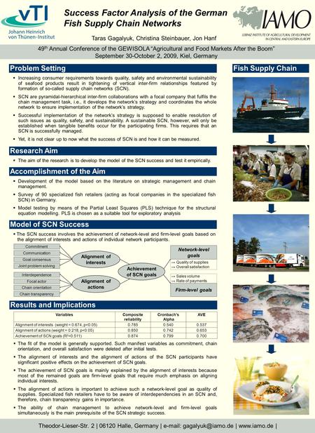 Success Factor Analysis of the German Fish Supply Chain Networks Theodor-Lieser-Str. 2 | 06120 Halle, Germany |   |