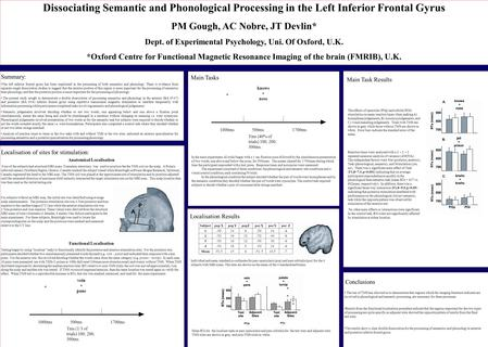 Dissociating Semantic and Phonological Processing in the Left Inferior Frontal Gyrus PM Gough, AC Nobre, JT Devlin* Dept. of Experimental Psychology, Uni.