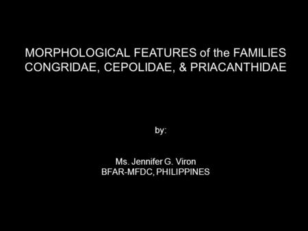 MORPHOLOGICAL FEATURES of the FAMILIES