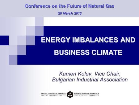 ENERGY IMBALANCES AND BUSINESS CLIMATE Kamen Kolev, Vice Chair, Bulgarian Industrial Association Conference on the Future of Natural Gas 26 March 2013.