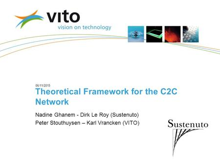 06/11/2015 Theoretical Framework for the C2C Network Nadine Ghanem - Dirk Le Roy (Sustenuto) Peter Stouthuysen – Karl Vrancken (VITO)