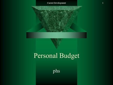 Career Development1 Personal Budget phs. Career Development2 Salary  Paycheck –Deductions: Taxes Child Support Social Security Retirement Insurance.