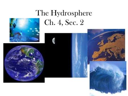 The Hydrosphere Ch. 4, Sec. 2. Water for Agriculture: Irrigation: –Artificial watering of crops.