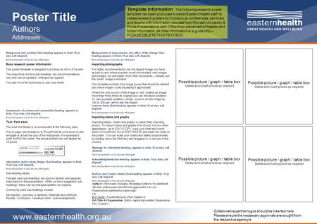 Www.easternhealth.org.au Poster Title Authors Addresses Background and problem (Sub-heading appears in Arial, 10 pt size, Left aligned) Body text appears.