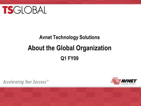 Avnet Technology Solutions About the Global Organization Q1 FY09.