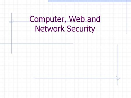Computer, Web and Network Security. What is security? System correctness If user supplies expected input, system generates desired output Security If.