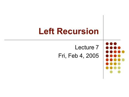 Left Recursion Lecture 7 Fri, Feb 4, 2005. A Problem with Recursive Descent Parsers Suppose the grammar were S  A B | C D A  B A | C A B  C A | A D.