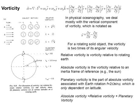 For a rotating solid object, the vorticity is two times of its angular velocity Vorticity In physical oceanography, we deal mostly with the vertical component.