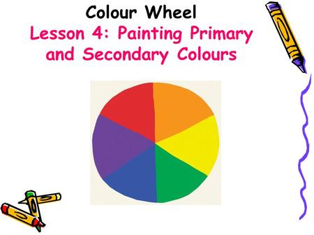 Colour Wheel Lesson 4: Painting Primary and Secondary Colours.