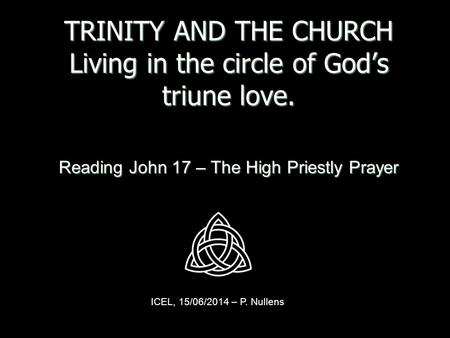TRINITY AND THE CHURCH Living in the circle of God's triune love. Reading John 17 – The High Priestly Prayer ICEL, 15/06/2014 – P. Nullens.