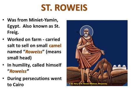 "ST. ROWEIS Was from Miniet-Yamin, Egypt. Also known as St. Freig. Worked on farm - carried salt to sell on small camel named Roweiss ""Roweiss"" (means small."