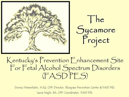 TheSycamoreProject Kentucky's Prevention Enhancement Site For Fetal Alcohol Spectrum Disorders (FASD PES) Donna Wiesenhahn, M.Ed, CPP: Director, Bluegrass.