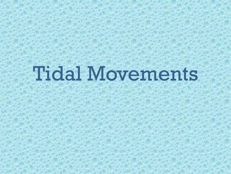 Tidal Movements. Tides: the rise and fall of sea levels caused by the combined effects of the gravitational forces exerted by the Moon and the Sun and.