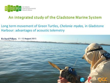 An integrated study of the Gladstone Marine System Richard Pillans 11-12 August 2015 1 Long term movement of Green Turtles, Chelonia mydas, in Gladstone.