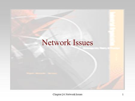 Chapter 24: Network Issues1 Network Issues. Chapter 24: Network Issues2 Introduction Some products are popular with individual consumers precisely because.