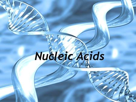 Nucleic Acids. Nucleic Acid Structure Polymer (4 th macromolecule) Monomer subunits are called nucleotides Nucleotides have 3 components: 1) pentose sugar.