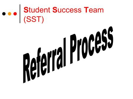 Student Success Team (SST). Personalized Education Plan (PEP) Prior to referral for SST, a PEP must be developed or revisited from the previous year A.
