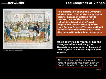 Discussion Which countries do you think had the strongest influence during the discussion about national borders at the Congress of Vienna? Explain your.