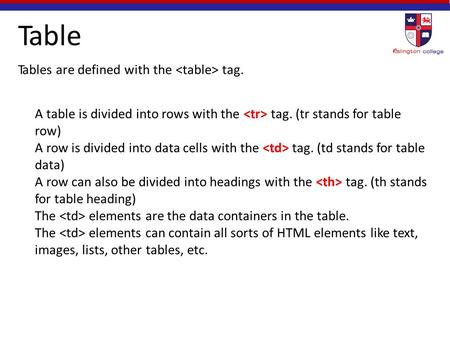 Table Tables are defined with the tag. A table is divided into rows with the tag. (tr stands for table row) A row is divided into data cells with the tag.
