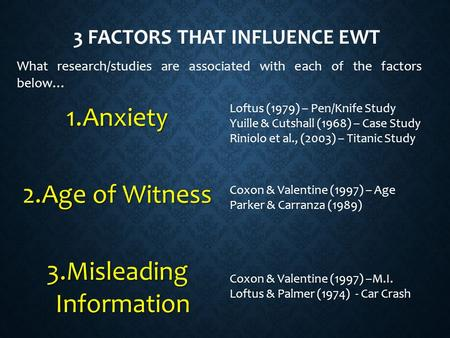 3 FACTORS THAT INFLUENCE EWT 1.Anxiety 2.Age of Witness 3.Misleading Information What research/studies are associated with each of the factors below… Coxon.