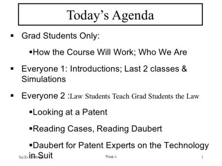 Sci.Ev. 2006-rjm Week 4 1 Today's Agenda  Grad Students Only:  How the Course Will Work; Who We Are  Everyone 1: Introductions; Last 2 classes & Simulations.